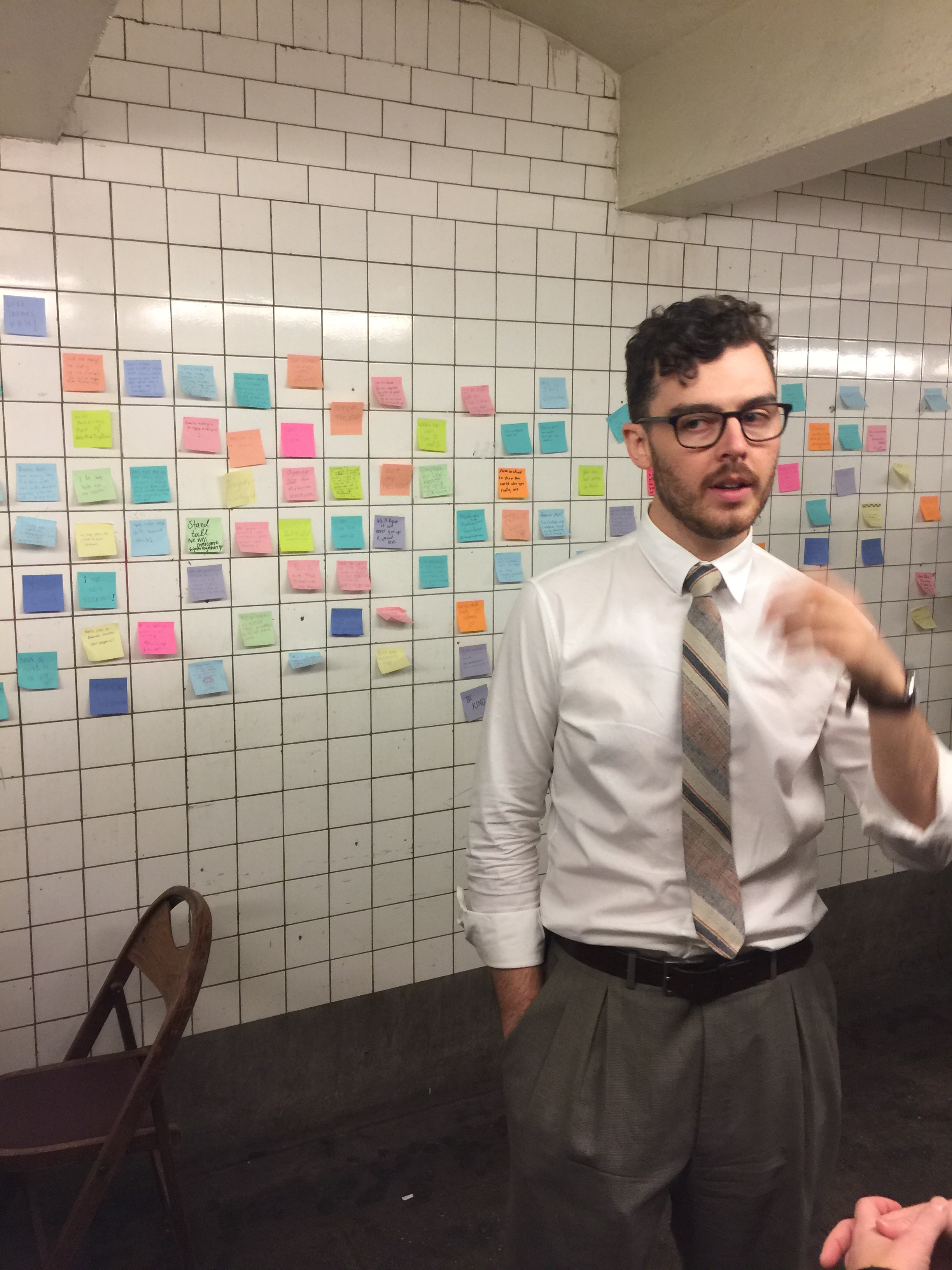 "Pictured: Matthew Chavez, who organized the ""subway therapy"" project"